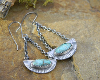 Carico Lake Turquoise Earrings - rustic oxidized sterling silver - Swingy dangle earrings