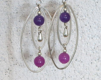 Earrings, purple and fuchsia, drops silver, oval, light jewelry