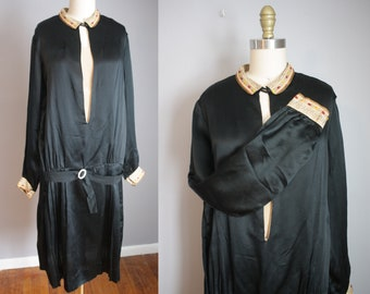 Reserved 1920s Greek Key Silk Dress // Drop Waist and Felt Beads // Medium to Large