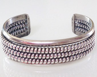Native American Old Pawn Navajo Sterling Silver Triple Coil Cuff Bracelet