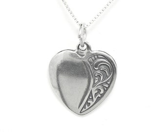 Heart Sterling Silver Love Pendant Charm Customize no. 1880
