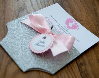 Silver Glitter Baby Shower Nappy/Diaper Invitation