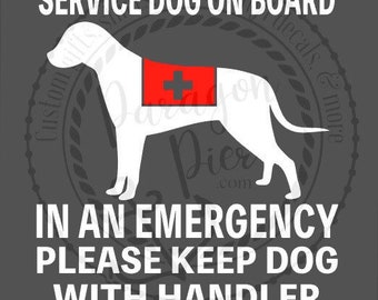Service dog - car decal - in case of emergency - medical alert - service animal - ICE - window sticker -