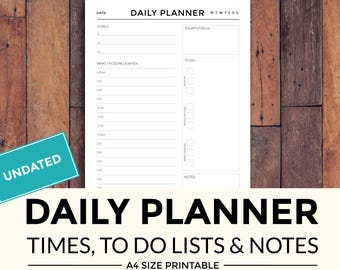 Printable Daily Planner with times, to do lists and notes,