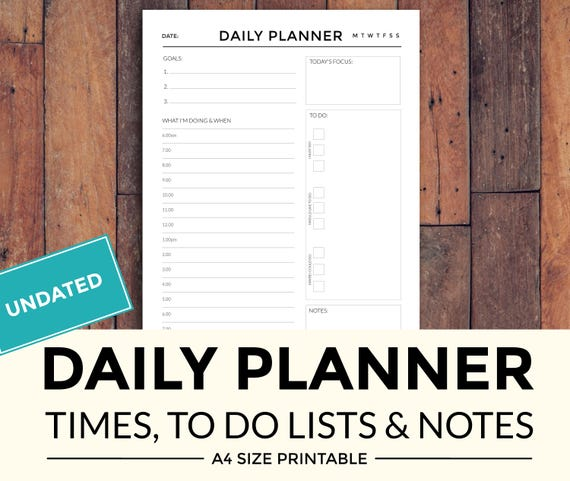 Printable Daily Planner with times to do lists and notes