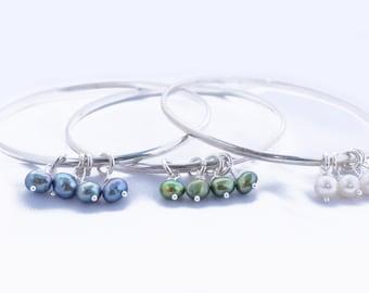 Pearl bangle - Bridesmaids gift - Bridesmaid Bangle - Sterling silver bangle