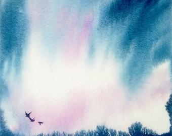 Dawn original water colour painting by Shari Hills