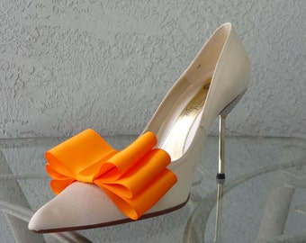 Tangerine Satin Ribbon Bow Shoe Clips Set Of Two, More Colors Available