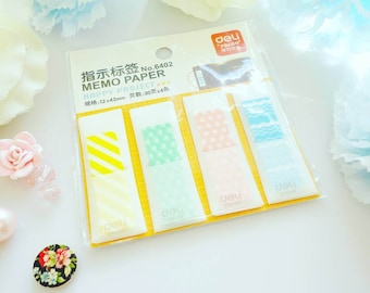 Polka Chevron Sticky Tabs Stripes Cute Pastel Plastic Notes Bookmarks