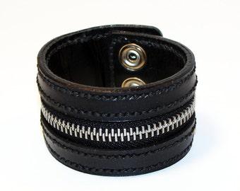 Black Zipper Bracelet. Handmade Bracelet. Black Cuff. Zipper Cuff. Black Zipper.Handmade Accessories.