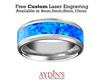 Tungsten Opal Ring   Blue Green Opal Inlay   Tungsten Wedding Band   Polished Finish   4mm   6mm   8mm   10mm   Tungsten Wedding Ring