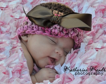 SIMPLE AND SWEET - Newborn Crochet Hat -Light Pink, Hot Pink and Chocolate Brown