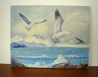 Original painting Gulls over the Sea