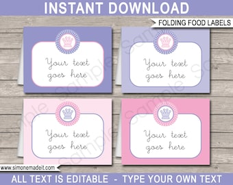 Princess Food Labels - Buffet Tags - Tent Cards - Party Decorations - INSTANT DOWNLOAD with EDITABLE text - you personalize at home