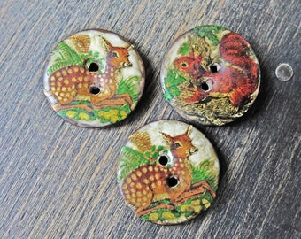 Trio of Handmade altered buttons with vintage decals, deer and squirrel buttons by fancifuldevices