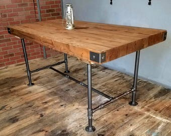 Superior SALE Rustic Industrial Table, Butcher Block Top Table, Dining Table With  Steel Pipe Base