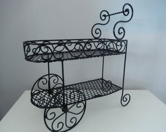 Black Wire Basket - Small Wire Cart - Black Metal Plant Holder - Decorative Wire Basket - Paris Flower Cart