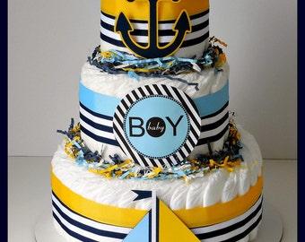 Nautical Diaper Cake, Nautical Baby Shower , Sailboat Theme, Baby Shower  Decorations