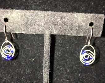 Tiny Swirl Seed Bead Pierced Drop Earrings