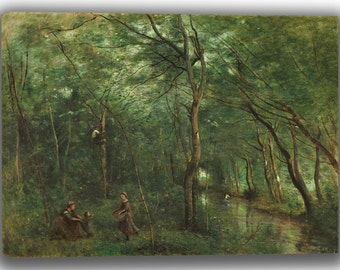 Camille Corot: The Eel Gatherers. Fine Art Canvas. (04043)