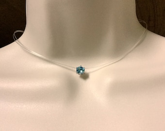 Invisible Necklace Floating Pendant Transparent Necklace Choker Minimalist Necklaces Nylon Fishing Line Chokers Swarovski Crystal Necklace
