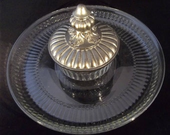 Glass tray with dip bowl and lid
