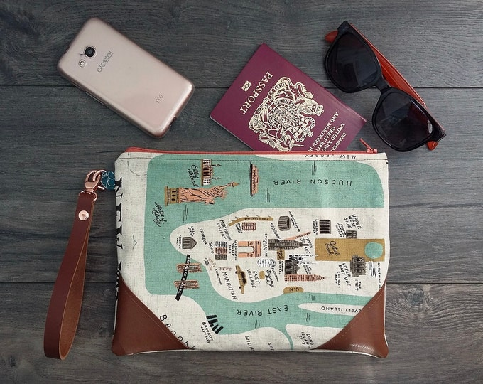 "Featured listing image: Create your ""City Map"" travel wristlet pouch"