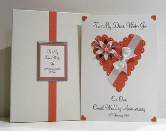 Coral 35th Wedding Anniversary Card  Personalised With Box or Envelope for Wife/Husband/Friends Etc