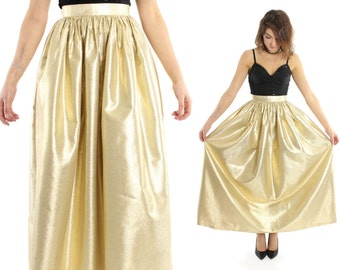 Vintage 70s Maxi Skirt ALBERT CAPRARO Gold Lurex Metallic Full High Waisted 1970s XS Small
