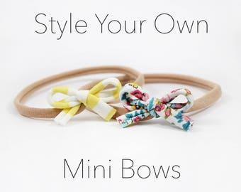 Mini Nylon Bows, Baby Headband Set, Small Bow Headband, Baby Girl Bows, Dainty Bows, Boho Headband, Mini Bow Headband, Baby Accessory
