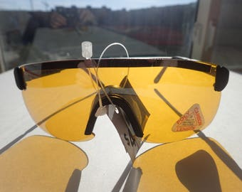 Yellow Shield Lens Sunglasses NOS NWT Driving Cycling Ski Sport Adjustable Temples