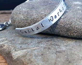 Hand Stamped Social Worker Aluminum Cuff Bracelet With Lotus Charm