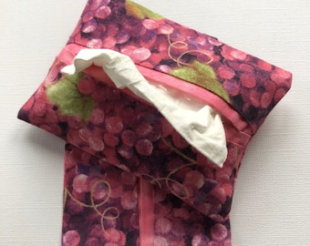 Fabric Purse Tissue Holders- Pink Grapes- Pocket Tissue Holders- Travel Tissue Holder- Handmade Gift Under 10- Tissue Case- Tissue Packet