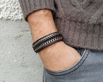 Man leather bracelet, valentines gift for him, gift for boyfriend, bracelet for him, hipster bracelet, mens jewelry