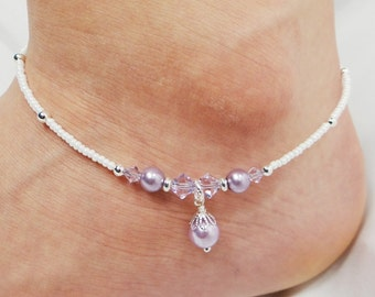 Anklet, Ankle Bracelet, Violet Anklet, Purple Anklet, Pearl Anklet, Crystal Anklet, Dangle Anklet Ankle Jewelry Wedding Jewelry Foot Jewelry