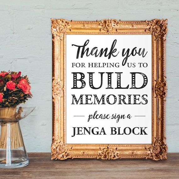 Wedding Memory Book Ideas: Jenga Block Wedding Guest Book Build Memories Sign A Jenga