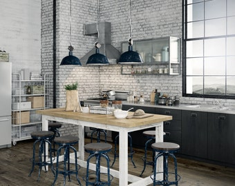 Industrial Recycled Extra Large Shabby Chic White Natural Wooden High Bench Kitchen Island Solid