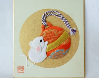 RJ139 Oshie craft,Oshi-e art board,Japanese paper/fabric Oshie/Kurumie on a shikishi board,Paper/fabric Art Craft ,marked,Hand made in Japan