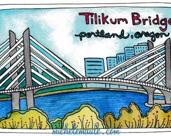 Tilikum Crossing Postcards - Portland Bridge - Portland Oregon Postcards - Portland Stationery - Postcard Set - Tilikum Bridge Postcards