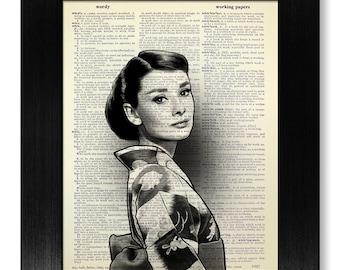 Asian Art, Man Birthday Gift Husband, AUDREY HEPBURN Print, HOLLYWOOD Art Girl Room Decor, Oriental Art, Cute Audrey Hepburn in Japan Style
