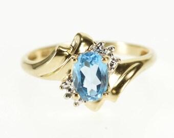 10k Oval Blue Topaz Diamond Accent Freeform Ring Gold
