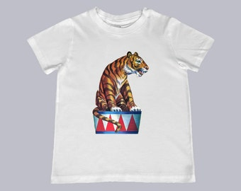Awesome Circus Tiger Vintage Illustration Youth, Toddler, Infant TShirt - t-shirt color choice, personalization available