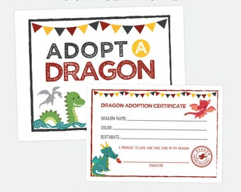 Adopt a Dragon Printables, Pet adoption Party, Dragon Adoption Certificate and Sign, Dragon Birthday Party Decorations, Instant download
