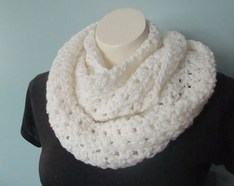 Lacy Infinity Scarf // Light and Lacy Cowl // Soft White Infinity Scarf // Lacy White Cowl // Fall Fashions // Gift for Her // Gift for Mom