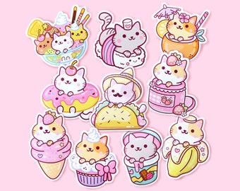 Sticker Set Series 1 (10pcs) – Kawaii Yum Yum Cats Vinyl Stickers