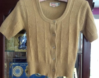 Vintage 1960s 1970s Sweater Kimlon By RBK Importers Lambswool Angora Nylon Light Beige 5 Button Front Cardigan Petite/Small Size