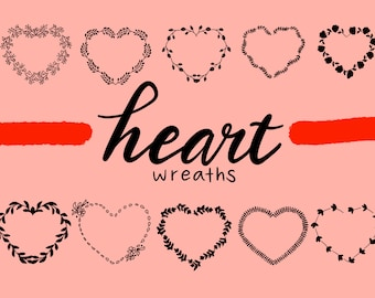 HEART FLORAL WREATHS Hand Drawn Wreaths Doodle Clipart Floral Rustic