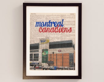 Montreal Canadiens Print - Hockey Art - Print on Vintage Dictionary Paper - Bell Centre - Montreal Quebec - Habs Print