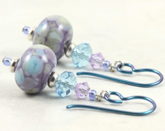 Multicolor Lampwork Earrings in Lavender and Aquamarine Crystal Aqua Niobium Ear Wires Hypoallergenic Earrings Dangle Fall Jewelry