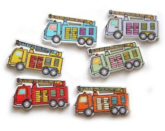 10 Painted Wooden Firetruck Buttons Fire Engline